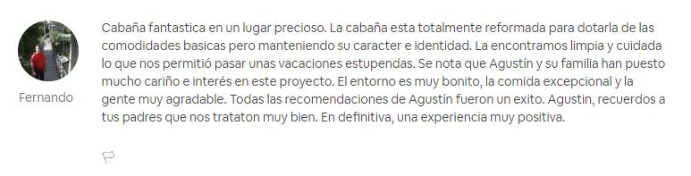 Opinión Airbnb sobre Cabañas con Encanto