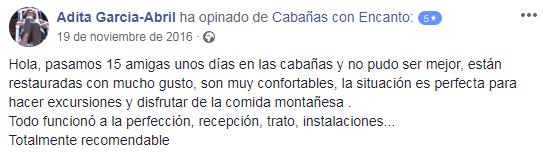 Opinión en Facebook sobre Cabañas con Encanto